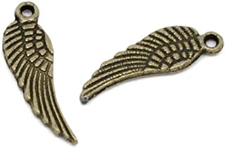 PEPPERLONELY Brand 200 PC Antique Bronze Wing Charm Pendants 3/4 x 3/16 Inch (17MM x 5MM)
