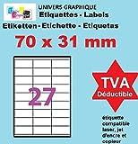 100 Planches de 27 étiquettes 70 x 31 mm = 2700 étiquettes autocollantes Blanc Mat Feuilles A4 étiquette adhésive 70 x 31 UGE27V02 étiquettes blanches pour imprimante jet d'encre laser copieur 70X31