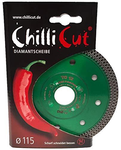 ChilliCut TO12 HIGH-END Profi Diamanttrennscheibe | 115 x 22,2mm | Fliesenleger Ornamentscheibe | Feinschnitt Feinsteinzeug Fliesen Keramik Steingut Granit