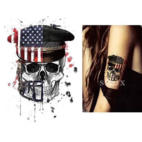 XiaoOu Tatuaje Temporal de Halloween Pegatinas Demon cráneoescuadrón Suicida Tatuaje Joker Negro Tatuaje Falso Impermeable 210 * 148 mm, G
