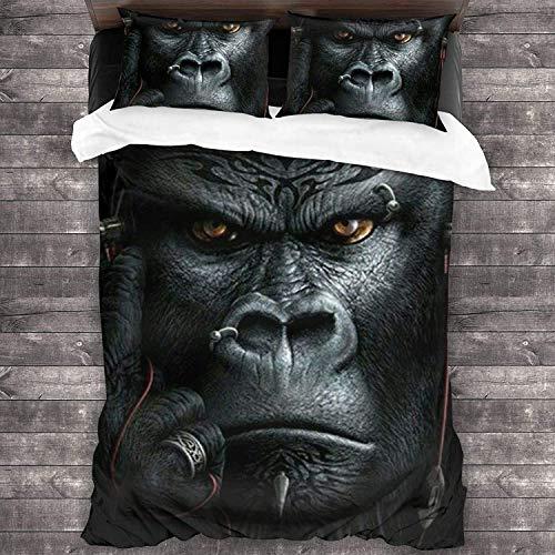 YeeATZ Gorilla Juegos de ropa de cama de 3 piezas, 100% microfibra lavada, ligera, juego de cama de 3 piezas, con cremallera (1 funda nórdica + 2 fundas de almohada) xwxb
