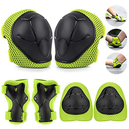 TOSHIHIKO Protecciones Skate Niño, 6 Pack Juego de Protección Rodilleras y Cojines de Codo para Niños Patinaje Ciclismo Bicicleta Monopatín Juego de Equipo de protección para Niño (Verde)