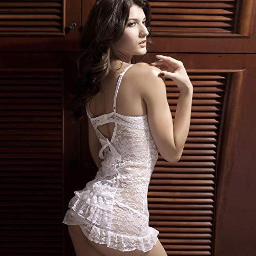 CZXN Batas eróticas de Mujer Lencería erótica Sexy patrón de camisón de Malla Transparente Lencería-White_L