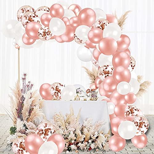 Bellatoi 118Pcs Kit Ghirlanda Palloncino Kit Arco Palloncini Oro rosa cipria bianco per Compleanno Sfondo di Nozze Decorazione per Feste