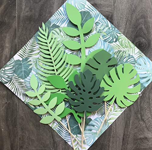JeVenis 7 PCS Glittery Tropical Leaves Cake Topper Tropical Wedding Cake Topper Greenery Cake Topper Palm Leaf Cake Topper for Jungle Theme Birthday Party Decor Safari Baby Shower Decor
