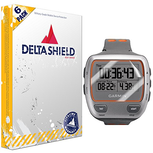 DeltaShield Screen Protector for Garmin Forerunner 310XT (6-Pack) BodyArmor Anti-Bubble Military-Grade Clear TPU Film