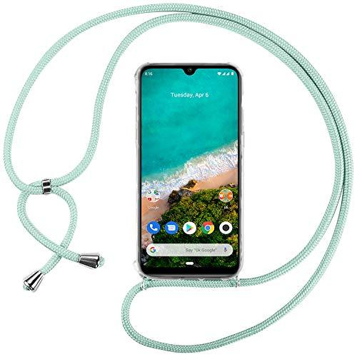 Ingen Funda con Cuerda para Xiaomi Mi A3 - Carcasa Transparente TPU Suave Silicona Case con Colgante - Verde