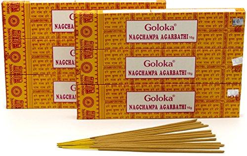 Goloka Nagchampa Agarbathi, incenso, 6 Box