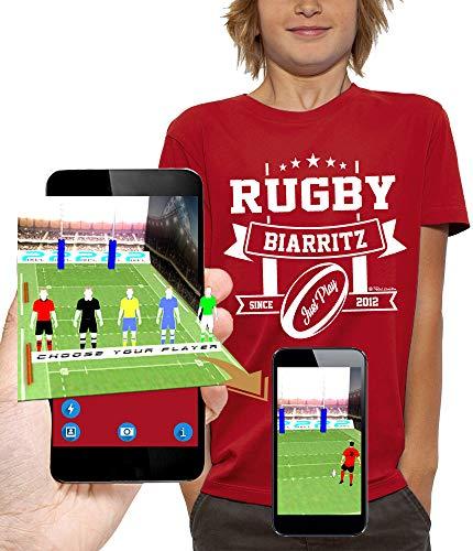 PIXEL EVOLUTION Camiseta 3D Rugby Biarritz en Realidad Aumentada Niño - tamaño 5/6 años - Rojo