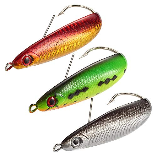 Dr.Fish 3PCS Fishing Spoon Lures Weedless Big Spoon Surf Fishing Bank Fishing Long Casting Saltwater Baits Rattling 3.6in 2/3 oz