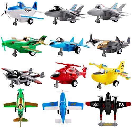 deAO Set mit 12 Rückzugsbewegungs -Flugzeugen Spielset für Fahrzeuge - Auswahl an Hubschraubern, Stealth-Bombern, Kampfjets, Flugzeugen und Flugzeugen Spielzeug für Jungen und Mädchen