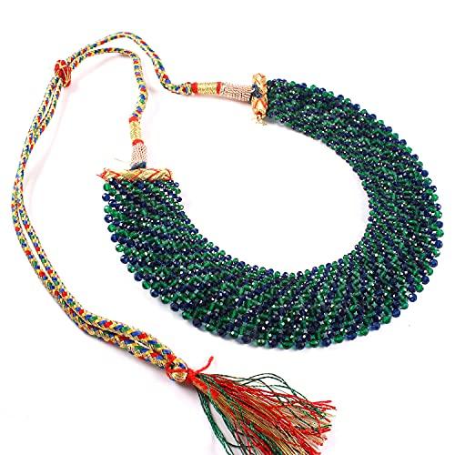 Ratnagarbha - Set di collana girocollo con pietre preziose multicolori, design tradizionale, verde blu, elegante set di collane girocollo, collana girocollo color blu smeraldo, set chic da donna