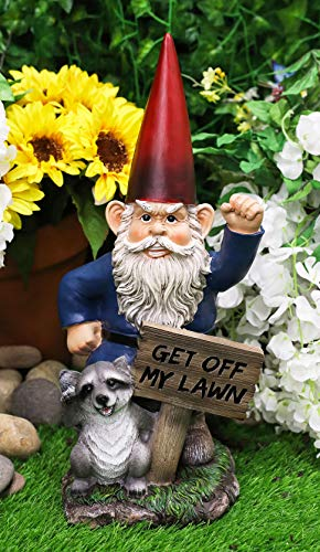 Ebros 'Get Off My Lawn' Grumpy Mr Gnome Dwarf with Feisty Raccoon Raising Fists Not Welcome Guest Greeter Statue 17' H Indoors Patio Figurine Whimsical Magical Gnomes Decoration Housewarming Accent