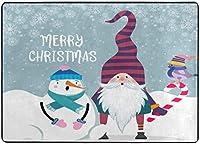 クリスマススノーマンとノームエリアラグ、リビングダイニングルームベッドルームキッチン用冬休みラグ、5'X7'保育園ラグフロアカーペットヨガマット