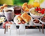 BZDHWWH Café Jamón Croissant Jugo Desayuno Comida Comida Papel Tapiz Sala De Estar Cocina Restaurante Papel De Pared Decoración Para El Hogar Para Navidad,250 cm×200 cm