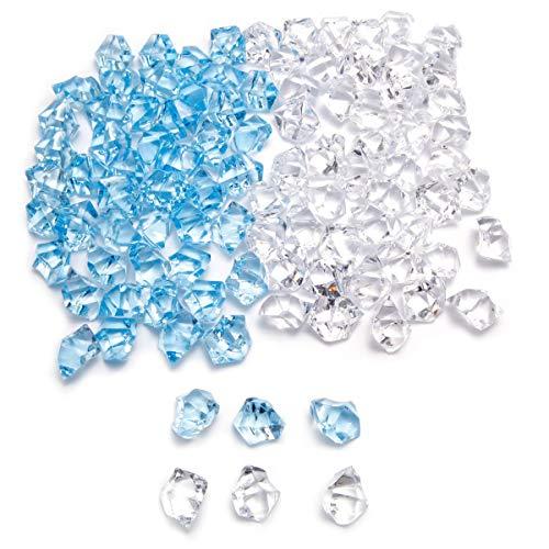 100 piezas de piedras acrílicas de hielo SurePromise Jewels Gems Diamond Pirata tesoro para el hogar suministros de fiesta floreros rellenos accesorios decoración de boda (transparente + azul)