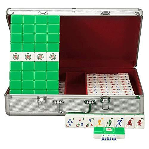 Big Shark Mahjong Heim Mahjong Game Set Tragetasche mit Box, geeignet for Freunde Unterhaltung (Color : Green)