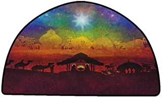 Polyester Rubber Door Mats Abstract,Vibrant Birth Scene in Bethlehem Christmas Inspiration Camels Exotic Tribal Trees, Multicolor,W30 x L18 Half Round Bath Rugs for Bathroom