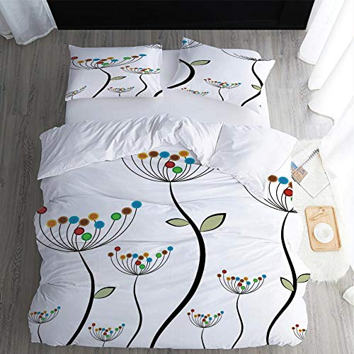SUZIHUA Double Duvet Cover With 2 Pillowcases,Colored Flowers,Fairy Bedding Set With Zipper Closure Microfiber Bedding Quilt Cover For Kids Teens Adults,W200Xl200Cm/78.5X78.5 Inches