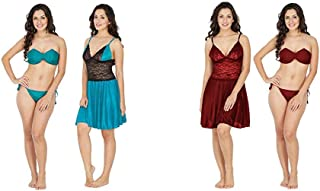 Klamotten Satin Women Nightwear and Bikini Set(Pack of 2)(221T-07T&0_Item 1 Color Turquoise|Item 2 Color Multicolor_Free Size)