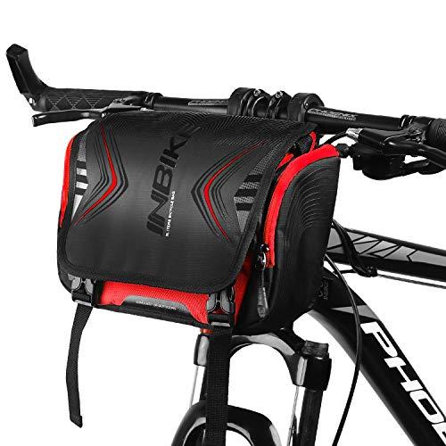 INBIKR Borsa da Manubrio Impermeabile, Borsa Telaio Mountain Bike con Parapioggia, 3L Stabile e Durevole Multitasche per MTB City CTB Pendolare(Rosso)