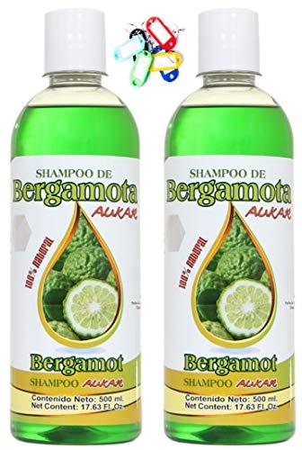 Bergamot Shampoo AUKAR 17.63 Fl Oz (PACK of 2) plus Key Chain Shampoo de Bergamota Aukar 500ml más Llavero. Twin Pack. 100% Natural.
