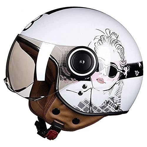 3/4 Casco de motocicleta Retro Medio casco de cara abierta Motocicleta Ciclomotor Jet Pilot Cascos con visera Hombre Mujer Casco de scooter Estilo vintage Aprobado por DOT/ECE,A,L