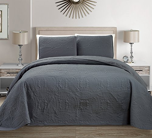 Mk Collection 3pc King/California King Solid Embossed Bedspread Bed Cover Over Size Dark Grey New