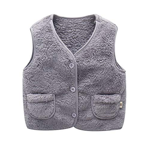 ACMEDE Baby Mädchen Jungen Weste Herbst Winter Gilet Bodywarmer Baby-Unisex Weste Fleeceweste Faux Pelz Mantel Jacke Ohne Arm Leichte Warme Kleidung