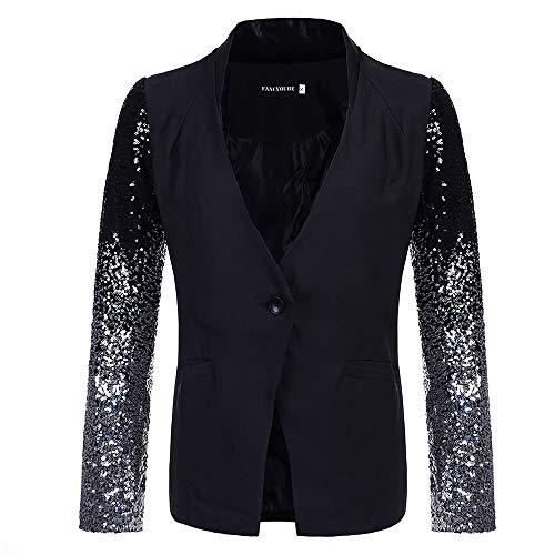 FRAUIT OL-pailletten voor dames, kostuumjack, blazer mantel dansfeest, prestaties tonen, elegante dunne korte mantel