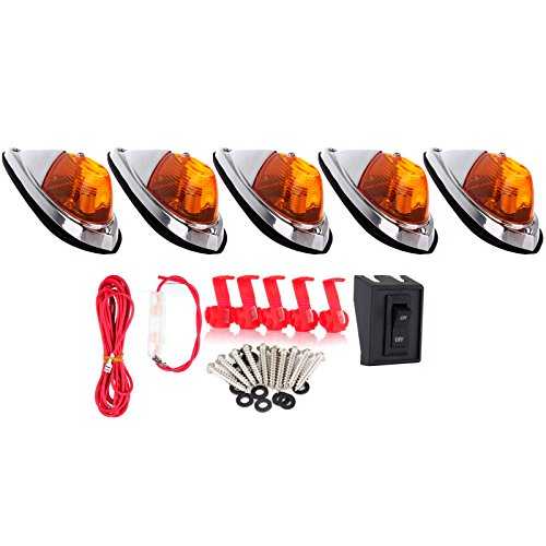 cciyu 5x Amber Cab Marker Roof Top Clearance Light Replacement + 1 Set Wiring Pack Switch Assembly Wire Harness Replacement fit for Truck Trailer Waterproof Semi-trailer