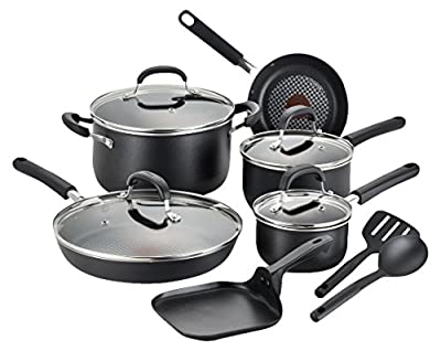T-fal C037SC OptiCook Hard Anodized Thermo-Spot Titanium Nonstick Oven Safe Cookware Set, 12-Piece, Black