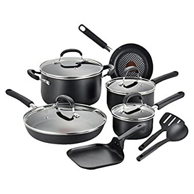 T-fal C085SC OptiCook Thermo-Spot Titanium Nonstick Dishwasher Safe Oven Safe Fry Pan Cookware Set, 12-Piece, Black