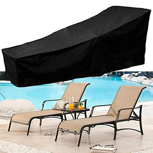 Patio Chaise Lounge Cover Water Resistant Sun Protection Outdoor Veranda Chair Table Bench Cover 82L x 30W x 16/31H inch Oxford Cloth Garden Furniture Recliner Protector Anti Fade All Season (Black)