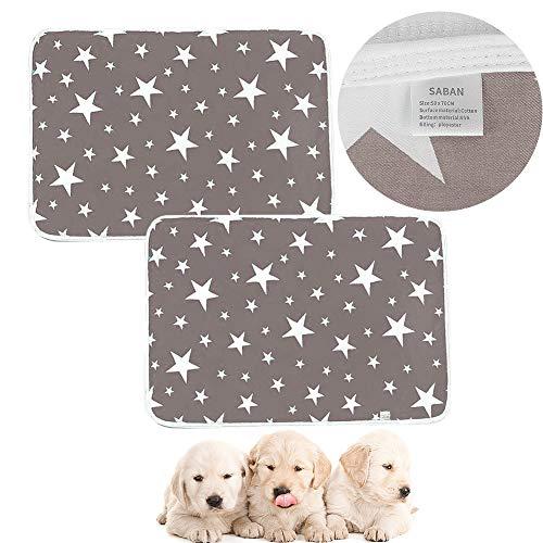Waschbare Welpenunterlagen für Hunde, wiederverwendbare Welpen-Trainingsmatte für Haustiere, super Saugfähigkeit, Welpen-Wurfunterlage für drinnen und draußen, Auto, Grau, 2 Stück (50 x 70 cm)