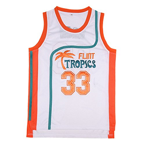 BOROLIN Mens Basketball Jersey #33 Jackie Moon Flint Tropics 90s Movie Shirts (White, Large)