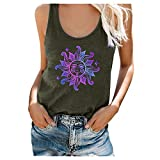 BFSAUHA Women's Summer Sleeveless Pleated Back Closure Casual Tank Tops 4th of July Tank Tops for Women, Womens Cute Summer Tops Loose Fit Plus Size Casual Floral Printed Tee Shirts Army Green 10 L