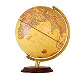 12 inch Antique World Globe, Wooden Desktop Geography Globe with Steel Stand, Earth Globe...