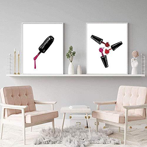 jjshily Salon de beauté Nail Photos Décor Wall Art Impressions Esthéticienne Cadeaux Toile Peinture Mode Oeuvre Manucure Nail Salon Cosmétologie École