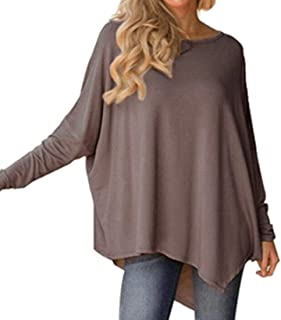 Frieed Women's Classic Loose Solid Color Tunic Irregular Blouse Shirt Tops