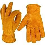 Ozero, guanti invernali con pelle di vacchetta e spessa fodera termica per mantenere le mani calde in lavori pesanti,1 paio, giallo