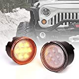 Xprite Amber Clear Lens LED Turn Signal Lights Assembly with Parking Funtion Compatible with 2007-2018 Jeep Wrangler JK & Wrangler Unlimited