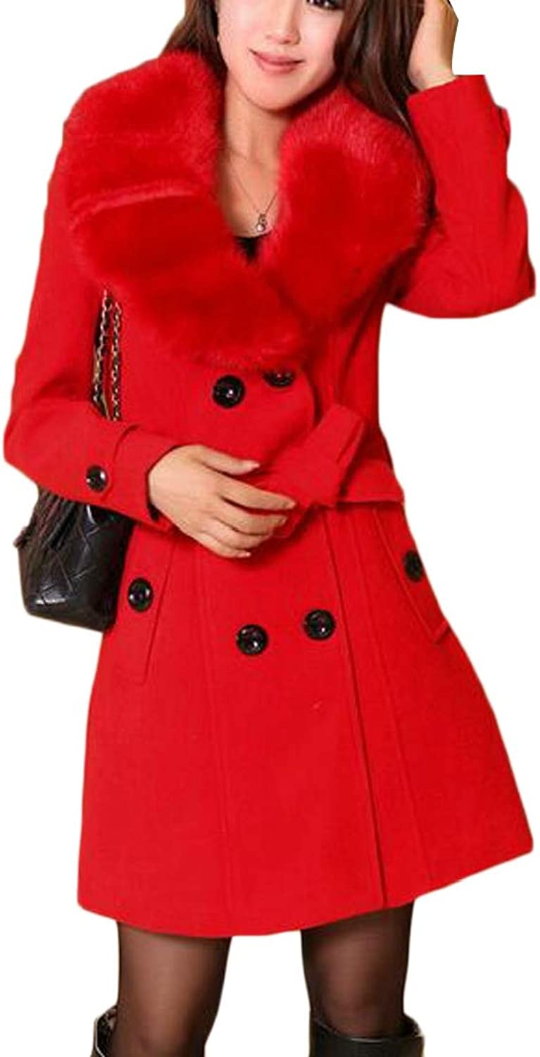 Jxfd Women's Thick Trench Coat Faux Fur Overwear Double Breasted Pea Coat