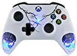 Skulls White Xbox One S UN-MODDED Custom Controller Unique Design (with 3.5 Jack)