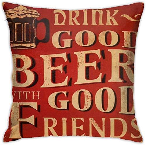 'N/A' OMAJIG - Fundas de almohada decorativas de 45,7 x 45,7 cm, diseño de cerveza, color rojo, para el hogar, sofá, dormitorio, sala de estar