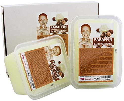 Kosmetex Paraffin-wachs Karité Sheabutter, Paraffinbad Wachs mit niedrigeren Schmelzpunkt, 2x 500ml