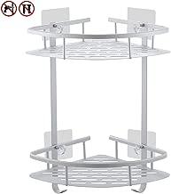 Yeegout No Drill Bathroom Corner Shelves, Aluminum Rustproof Adhesive Shower Shelf Kitchen Storage Basket with Hanging Hooks(2 Tier)