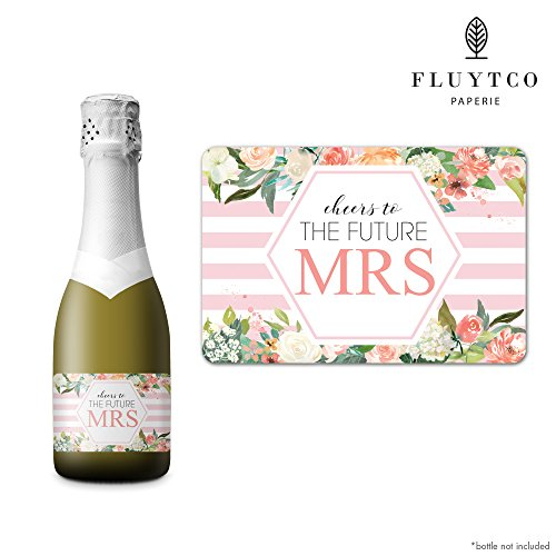 FUTURE MRS - Set of 20 Bachelorette Label Stickers for Mini Champagne Bottle & Gift Box - Bridesmaid, Maid & Matron of Honor Proposal Gift- Engagement Party- Bridal Shower