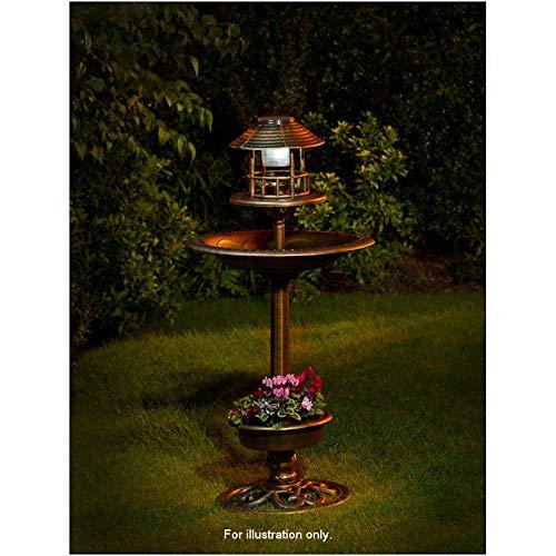 Bain d'oiseaux 3-en-1 avec lampe solaire et jardinière, pour l'été