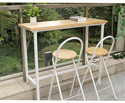 Estrecho rectangular Mesa de bar, Mesas de comedor de cocina, 39.4 '' l x 15.7 '' w x 41.3 '' h, Madera maciza, Patas retráctiles de metal, Para diferentes alturas del suelo.